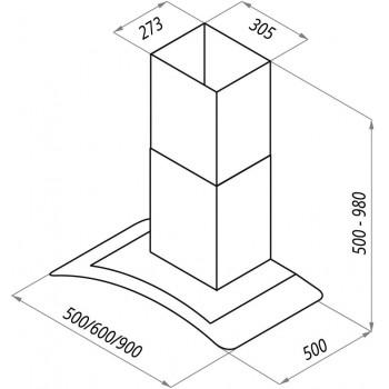 Купольная вытяжка MAUNFELD ANCONA PLUS 60 нержавейка, чёрное стекло