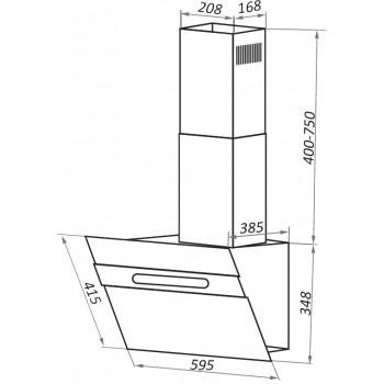 Наклонная вытяжка MAUNFELD MOON 60 белое стекло