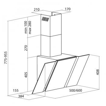 Наклонная вытяжка MAUNFELD TRENT GLASS 60 чёрный, чёрное стекло