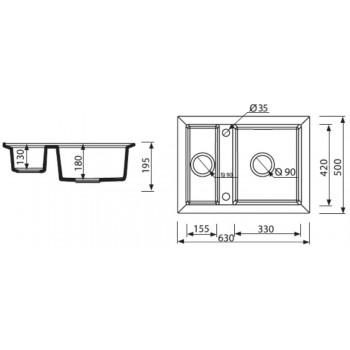 Кухонная мойка MARMORIN CIRE 375503012 Black Metalic
