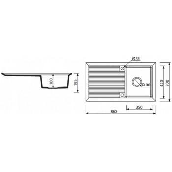 Кухонная мойка MARMORIN CIRE 375113012 Black Metalic