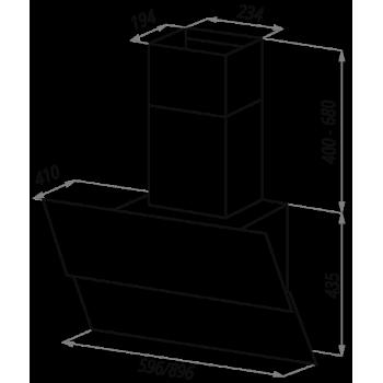 Наклонная вытяжка MAUNFELD PLYM 90 чёрная, чёрное стекло